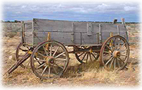 A wagon from the days of the Old West.